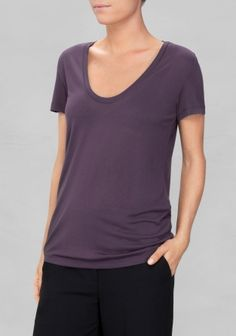 & OTHER STORIES Made from light fabric for a comfy, relaxed fit, this T-shirt has a scooped neckline, a clean defined collar, and short sleeves.