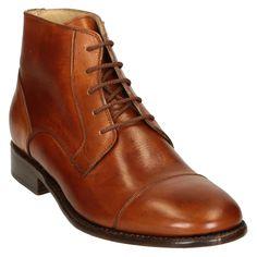 Tan horse leather plain cap toe men's dress boots - Italian Boutique €365
