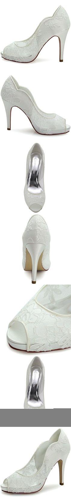 Elegantpark HP1504I Women's Peep Toe Wave Edge Platform Stiletto Lace  Wedding Bridal Evening Pumps Shoes Ivory