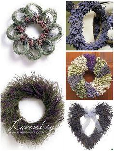 lavender wreaths - candles in the middle = centre pieces? Lavender Crafts, Lavender Wreath, Lavender Garden, Lavender Honey, Lavender Color, Diy Wreath, Burlap Wreath, Corn Husk Wreath, Color Lavanda