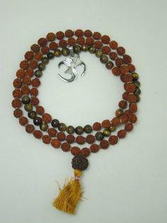 Amazon.com: Meditation Om Japa Mala Tiger Eye Rudraksha Prayer Beads Mala 108+1 New Beginning: Tarini Jewels: Jewelry