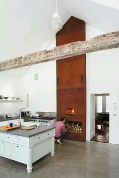 YES - farmhouse kitchen dining area custom built wood fired oven Opus Caementicium, Indoor Pizza Oven, Old Fashioned Kitchen, Interior Minimalista, Wood Fired Oven, Wood Oven, Home Design, Modern Design, Design Hotel