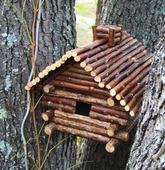 Twig birdhouse... No instructions but easy enough to replicate.