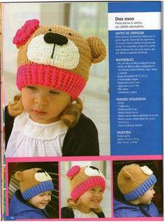 قبعة كروشية مع وجه دبدوب للأطفال.bear crocheted hat for kids. Lindos GorrosPatrón  De ... 398f252d087