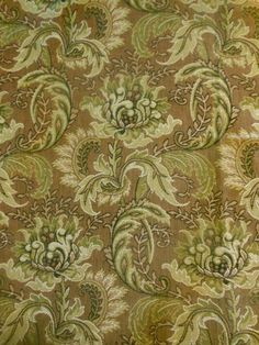 Antique  French Floral Tapestry Cotton Fabric ~  Olive Mocha Mauve