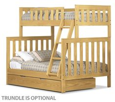 Bunk Buddies. The Taylor Twin/Full bunk bed makes bedtime more exciting with its lofted design that offers space for two, holding a Twin mattress on the top and a Full mattress on the bottom. Constructed from solid wood in a versatile golden oak finish, the bed uses classic slats to offer both style and safety, while the optional trundle creates an additional storage option or room for extra overnight guests. Assembly required. Made in Canada.