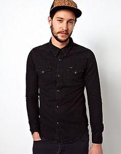 Lee Denim Shirt Western Slim Fit Pitch Black Black Denim Shirt 0a55ac6c13970