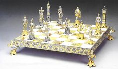 Medici E Pazzi (Medici vs Pazzi Family) Gold Silver Chess Board $9,759.00