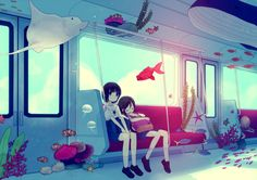 two girls on train aquarium #anime #manga illustration