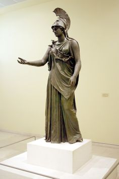 Bronze statue of the goddess Athena known as Athena of Piraeus, dated to late Classical period (late 4th c. BCE).