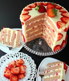 SugaryWinzy Fresh Strawberry Cake--pinning this one especially because of the cream cheese frosting!