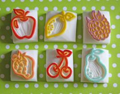 "Fruit Stamps by Stamps by Sachi.  ""Juice tops and got glue!  Diy stamp?"""
