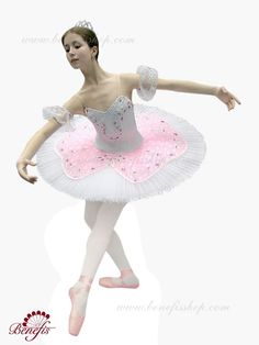 Pink and white ballet costume with white crown on top.
