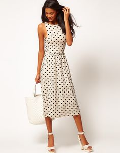 Midi Dress In Spot Print Why do so many cute dresses have to not have sleeves?!
