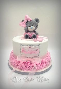 Teddy Bear Ballerina Birthday Cake - For all your cake decorating supplies… Ballet Cakes, Ballerina Cakes, Ballerina Birthday, Cupcakes, Cupcake Cakes, Fete Marie, Bolo Panda, Rodjendanske Torte, Torta Baby Shower