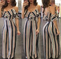 Leaf Shape Off Shoulder Backless Brocade Women Jumpsuits - Buy Online Dress Trendy Outfits, Trendy Fashion, Girl Fashion, Cool Outfits, Fashion Outfits, Fashion Nova Jumpsuit, Jumpsuit Outfit, Summer Office Outfits, Buy Dresses Online