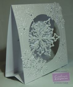 Rachel Webber, Sara Davies Signature collection Festive Wonder: Festive Frame Embossing Folder, Festive Flakes Die, Snowflake Trio dies, Centura Pearl Hint of Silver, Easy Crystal - #crafterscompanion