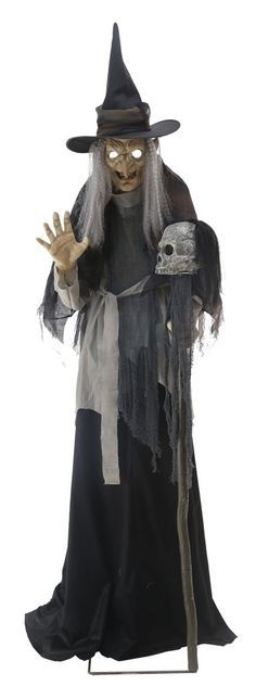 Something wicked this way comes, and her name is the Lunging Haggard Witch! Standing over 6ft tall to the top of her pointed hat, this wicked wiccan features a soft PVC head with glowing light-up eyes