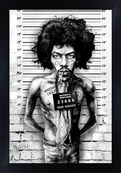 Jimi Hendrix Mugshot by MarcusJones on DeviantArt headphone tattoo Framed Wall Art, Framed Art Prints, Fine Art Prints, Poster Prints, Pinup Art, Jimi Hendrix, Framed Tattoo, Lowbrow Art, Pop Surrealism