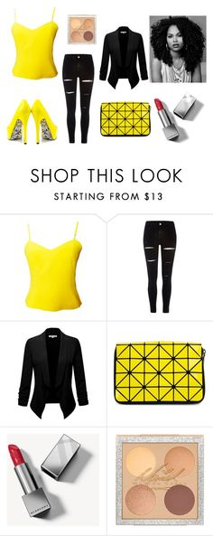 """""""Black and yellow is beautiful !"""" by mduda0570 on Polyvore featuring moda, Versus, River Island, Bao Bao by Issey Miyake, Burberry e TaylorSays"""