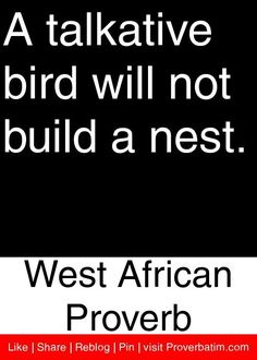 A talkative bird will not build a nest. Wise Quotes, Quotable Quotes, Great Quotes, Words Quotes, Wise Words, Quotes To Live By, Motivational Quotes, Inspirational Quotes, Sayings