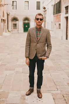 H Tweed Blazer, J. Crew Plaid Button Up, Doctrine Denim Jeans, Topman Boots, Ray Ban Clubmasters
