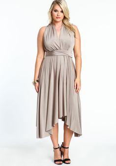 Plus Size Champagne Multi Wrap Magic Dress - Love Culture