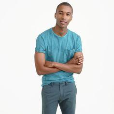 Garment-dyed T-shirt in microstripe