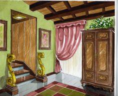 """ILUSTRACIÓN: Acuarela - """"Decoración de Interiores""""."""