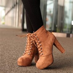Lace-up Platform Ankle Boots High Heels