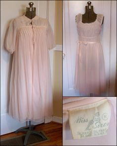 Vintage 1940 s 50 s Miss Siren Pale Pink Peignoir by BeesKneesEtsy 577da98fe