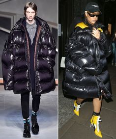 From Runway to Rihanna's Way: See How the Star Puts Her Spin on Fashion's Trickiest Looks - Raf Simons's Ovesized Men's Puffer Jacket from InStyle.com