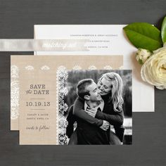 Burlap lace save the date