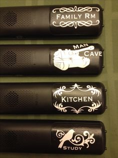 Label remotes for different rooms.