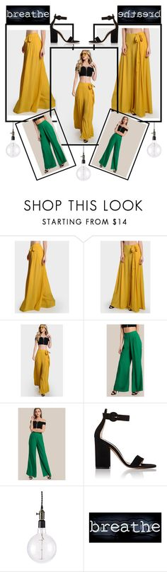 """Yellow&green"" by lulove777 ❤ liked on Polyvore featuring Gianvito Rossi, Frontgate and Oliver Gal Artist Co."