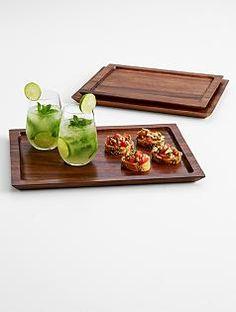 nested wood tray set