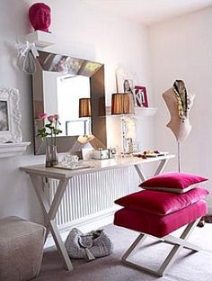 Vanity Table Inspiration: Womanly Hue I'll use the table and add Malm storage draws from Ikea Tocador Vanity, Dressing Table Vanity, Vanity Tables, Vanity Area, Dressing Area, Dressing Tables, Makeup Tables, Dressing Room Closet, Dressing Rooms