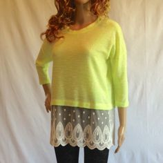 Lime Colored Top with Lace (S, M, L) Available This lime colored knit top features a lace train on the hem and 3/4 sleeves. 94% Rayon, 6% Spandex. Made in the USA. 🇺🇸. ***Leggings also sold in my closet. Tops