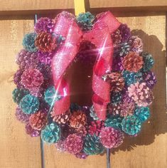 Easter/Spring Glitter Pinecone Wreath by ShantellysPlace on Etsy
