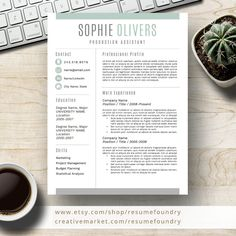 Modern Resume Template for Word, Page Resume + Cover Letter + Reference Page