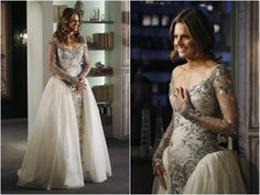 Castle: re-embroidered French silver bullion lace sheath, filled out by a silk taffeta and organza skirt, a creation by the show's costume designer Luke Reichle.