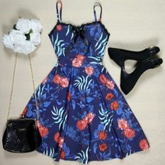 Vestido Floral Azul Intense