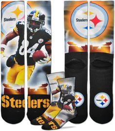 4b7a0b301 For Bare Feet Pittsburgh Steelers Antonio Brown Player Crew Socks