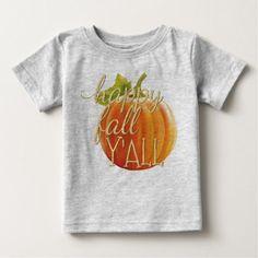 Happy Fall Yall Orange Pumpkin Motif Baby T-Shirt - thanksgiving tshirts custom unique happy thanksgiving holiday celebrate