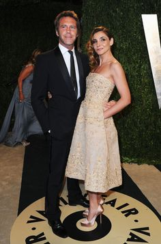 Prince Emanuele Filiberto of Savoy and Princess Clotilde Courau arrive at the 2013 Vanity Fair Oscar Party, Feb 2013