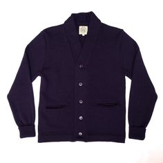 Cardigan #1 100% British wool.Available in Navy or Mid Grey £209