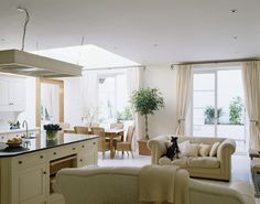 Cool Kitchen Ideas - Zimbio  Open plan kitchen with dining and sitting area.