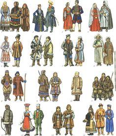 1.Khanty people 2.Circassians 3.The Montenegrins 4.Chechen people 5.Chuvash people 6.Chukchi people 7.Shors 8.Evenks 9.Evens 10.Enets people 11.Eskimo 12.Estonians 13.Yukaghir people 14.Yakuts