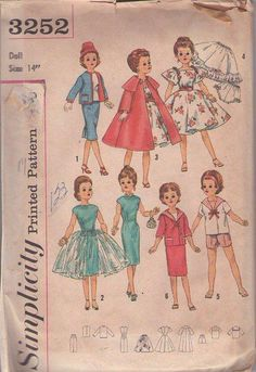 "MOMSPatterns Vintage Sewing Patterns - Simplicity 3252 Vintage 50's Sewing Pattern DIVINE 14"" Doll Clothes Wardrobe, Jacket, Skirt, Party Dress, Top, Shorts, Dress, Overskirt, Tent Coat, Petticoat Slip, Panties Miss Revlon & Cissy"