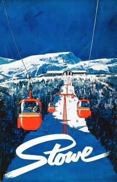 1968 Stowe, Vermont Original Ski Poster